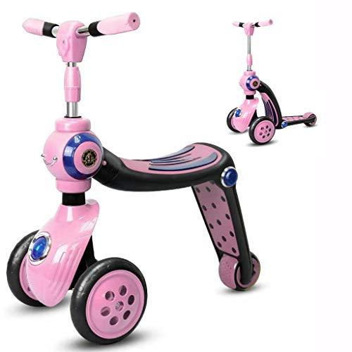 WENJIE Triciclo Infantil 2 En 1 Scooter Balance Car Niño De 1-3-7 Años Deslizándose Yo-yo Puede Sentarse (Color : Pink)