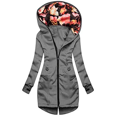 WANGTIANXUE Sudadera con capucha para mujer, para otoño e invierno, de manga larga, con cremallera, para exteriores, con bolsillos largos, gris, XL