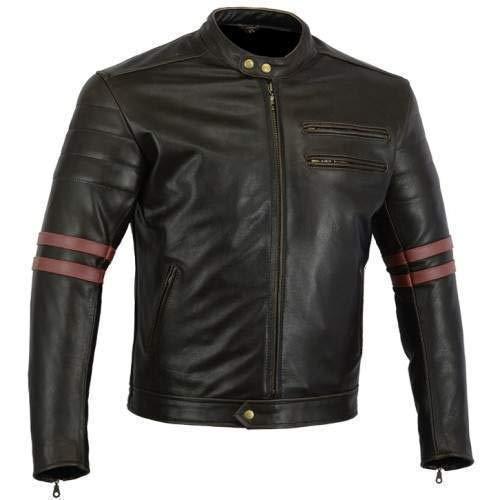 Australian Bikers Gear chaqueta moto Cafe Racer en color negro envejecido y rayas rojas oxblow con protecciones homologadas y extraíbles en talla 4xl