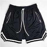 UKKD Pantalones Cortos Hombre Joggers Fitness Shorts Sportswear Pantalones Cortos Pantalones De Verano Gimnasios De Malla De Entrenamiento Masculino Pantalones Cortos De Fondo -2-Black,XL