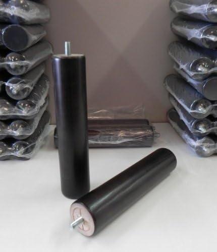 Pack 4 patas para somier o base tapizada cilÃndricas, madera color wengue