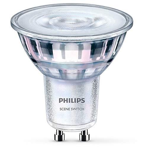 Philips foco LED SceneSwitch, casquillo GU10, 5W equivalentes a 50W en incandescencia, luz blanca cálida a fría regulable con interruptor existente