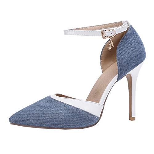 MISSUIT Damen Denim High Heels Pumps Jeans Stiletto Spitze Pumps mit Pfennigabsatz und Riemchen Schuhe(Hellblau,39)