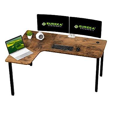 EUREKA ERGONOMIC 60 inch L Shaped Gaming Computer Desk, Multi-Functional Study Writing Corner Desk