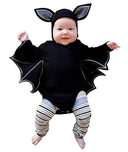 Lovelegis (0-6 Mesi) Costume Travestimento Halloween Carnevale Cosplay - Body da Pipistrello + Cappellino con Orecchie per Bambino Neonato Bebè Baby Bimbo