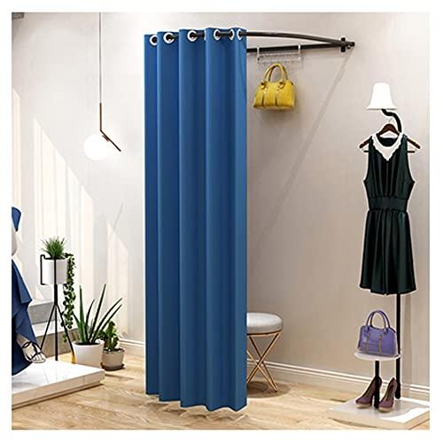 BAIYING Vestuario Vestuario, Probador Semicircular Vestuario De Pared, Kit De Cortina De Lino para La Oficina del Centro Comercial, 12 Colores (Color : Blue-A, Size : 85x80cm)