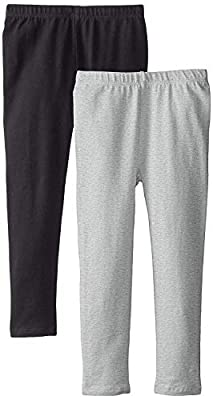The Children's Place Big Girls' Solid Legging (Pack of 2), Black/Heather Grey, X-Large (14)