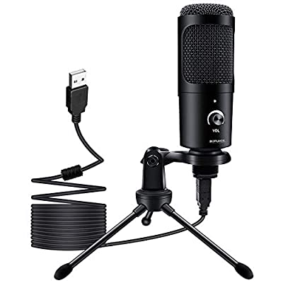 USB Microphone, BOPUROY Condenser Computer PC Microphone with Tripod Stand Studio Recording Mic for Gaming, Streaming, Podcasting, YouTube, Skype, Twitch, Discord, Compatible with Laptop Desktop.