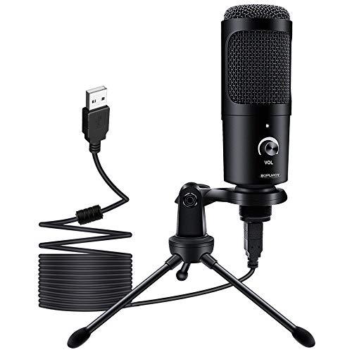Micrófono USB de Condensador BOPUROY para Ordenadores PC Micrófono con Soporte de Trípode, Filtro Antipop, Soporte Gaming, Streaming, Podcasts, YouTube, Locución, Skype, Twitch, Discord