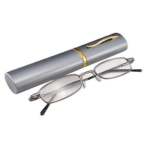 THG exterior Gunmetal gafas marco gafas de lectura completa de las gafas de Reader 1.00 Lupa de bolsillo Clip Case Tubo Pen
