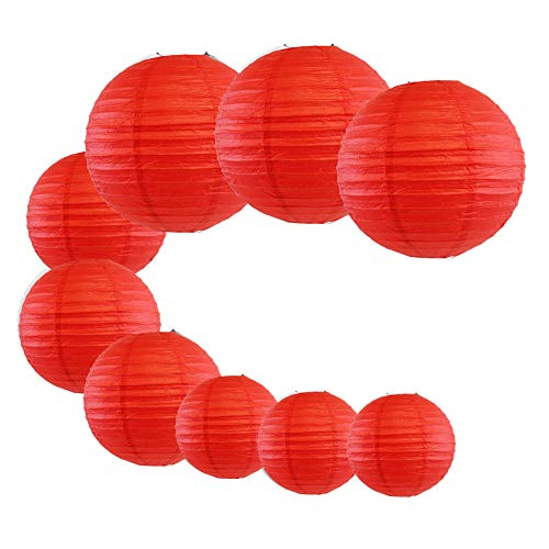 LACGO 9pcs/Set Wedding Birthday Party Favor Chinese 8''10''12'' Round Paper Lanterns, Festival Carnival Celebration Activity Supplies, Perfect for Home Garden Patio Decor(Red)