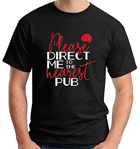 T-Shirt Hombre Negro EPS0781 Please Direct ME TO The Nearest Pub