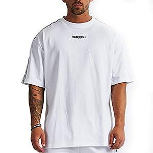 VANQUISH(ヴァンキッシュ) Tシャツ 半袖 メンズ正規品 ウェイトトレーニングウェア フィットネスアパレル スポーツウェア ジムウェア 筋肉 筋トレ Vanquish Fitness(ヴァンキッシュ フィットネス) VQ LTv2 オーバーサイズ ホワイト サイズ:M