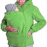 G&F Kangaroo Incappucciato papà Marsupio Felpa con Cappuccio Giacca Verde Cappotto Caldo di Inverno degli Uomini (Size : XXL)