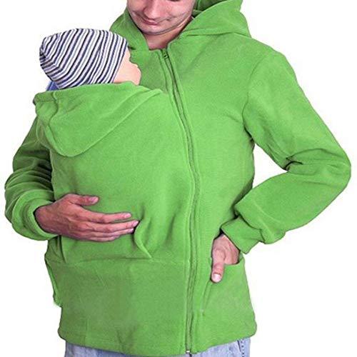 G&F Känguru mit Kapuze Dad Babytrage SweatshirtHoodie Jacke Grün-Mantel-Männer Winter warm (Size : XXL)