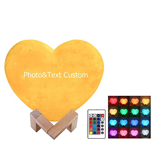 Personalized Custom 3D Printing Heart Moon Light Lunar USB Charging Night Lamp Touch/Remote 2/16 Colors Moonlight Personalized Gifts for Birthday Mother Day Gift