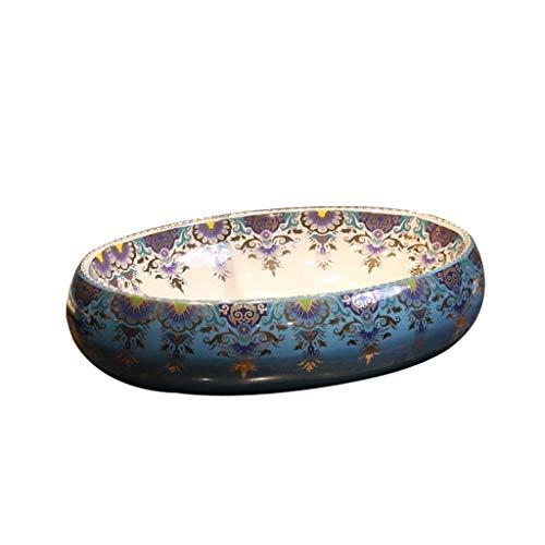 Tocador de lavabo de baño Por encima de la porcelana del contador del fregadero del recipiente, Cuarto de baño de cerámica del fregadero, oval canoa Forma Europea de cerámica Lavabo - Lavabo Baño Lava