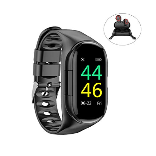 fancheng AI Smart Watch mit Bluetooth-Kopfhörer, kabellose Bluetooth-Freisprecheinrichtung, Stereo-Kopfhörer, Herzfrequenz-Monitor, Fitness-Tracker Schwarz