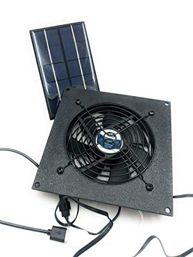 coolerguys Small Solar Powered USB Waterproof Fan Kit for Small Chicken Coops, Greenhouses, Doghouses, Sheds, and Other Enclosures