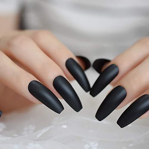 CSCH Künstliche Nägel Modische feste schwarze Sargnagelspitzen flache Ballerina-Peelingpresse gefälschte Nägel matt gefälschter Fingernagellack für Partysalon