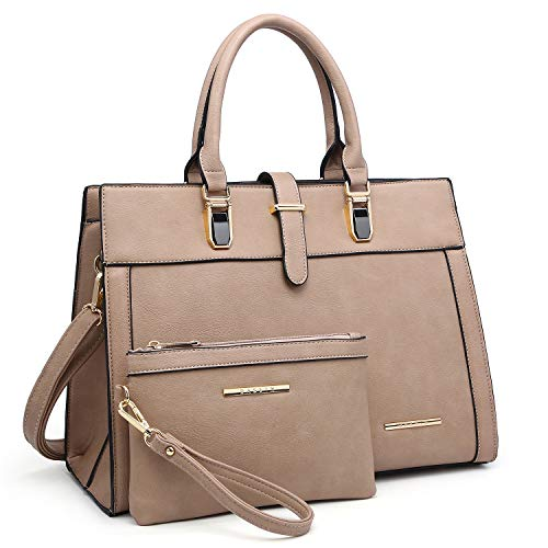 "MATERIALS: Vegan leather (PU) exterior with gold-tone hardware. SIZES: 14.5""W x 10""H x 5""D; Top handle drop length: 6"". Wristlet: L=9""x H=6"". POCKETS: 1 back external zipper pocket, 2 internal zipper pockets and 1 internal slip pocket, multi-pockets ..."