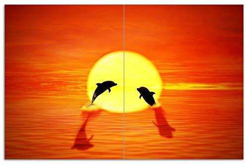 Wallario Herdabdeckplatte/Spritzschutz aus Glas, 2-teilig, 80x52cm, für Ceran- und Induktionsherde, Motiv Delphine im Sonnenuntergang