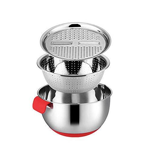 ertertre - Ciotola multifunzionale in acciaio INOX per insalata, con cestello di scarico per preparare la cottura