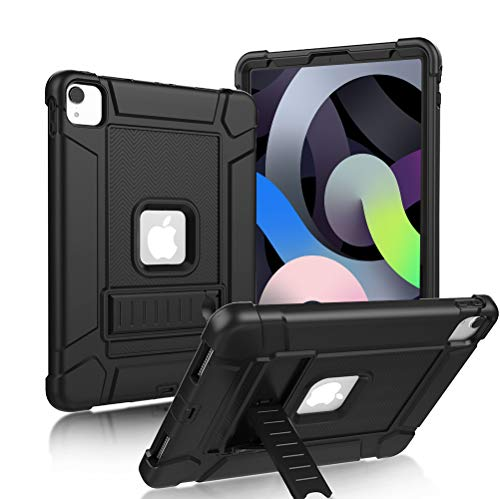 LTROP New iPad Air 10.9-inch Case 2020, iPad Air 4 Case 10.9, iPad Air 4th Generation Case - Heavy Duty Slim Rugged Protective Kickstand Cover Case for Apple iPad Air 4th Gen 10.9' - Solid Black