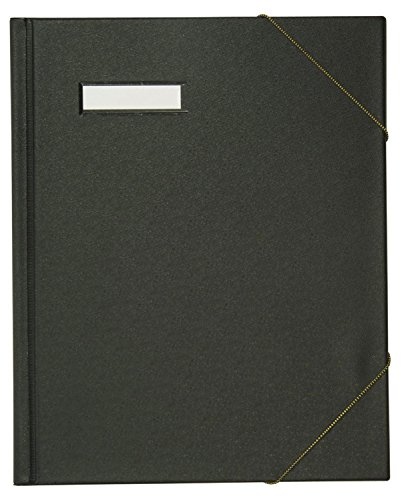 ELBA 100420824 Umlaufmappe für DINA A4 Dokumente mit Eckspannergummi und beschriftungsfenster aus Karton mit PVC-Folie veredelt in schwarz