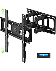 Full Motion TV Wall Mount with Height Setting, Swivel, Tilt and Extension for Most 32-65 Inch Flat&Curved TVs, JUSTSTONE TV Bracket with Articulating Dual Arms Holds up to 121 lbs, Max VESA 400X400mm