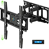 Full Motion TV Wall Mount with Height Setting, Swivel, Tilt and Extension for Most 28-65 Inch Flat&Curved TVs, JUSTSTONE TV Bracket with Articulating Dual Arms Holds up to 121 lbs, Max VESA 400X400mm