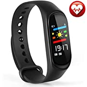 Warmhoming Fitness Tracker, M3 Fitness Watch Sport Wristband Activity Tracker with Heart Rate Monitor, Sleep Monitor, Step Counter, Calorie Counter, Pedometer for Men Women and Kids (Black)