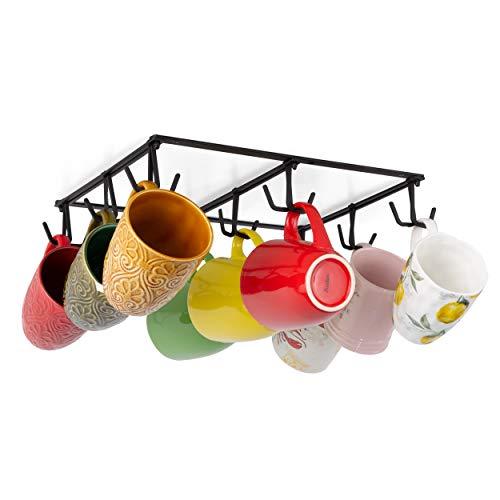 Wallniture Tasse Coffee Mug Rack Under Cabinet, Kitchen Utensil Holder with 18 Black Hooks for Hanging Cups, Metal