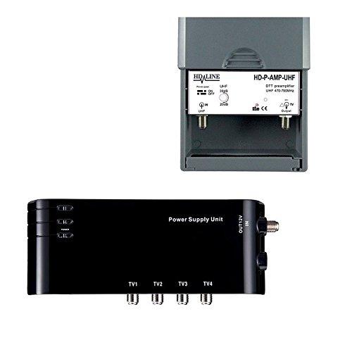 Kit préamplificateur HD-LINE 4/1 TV amplificateur + Alimentation 4 Sorties TV pour antenne terrestre TNT