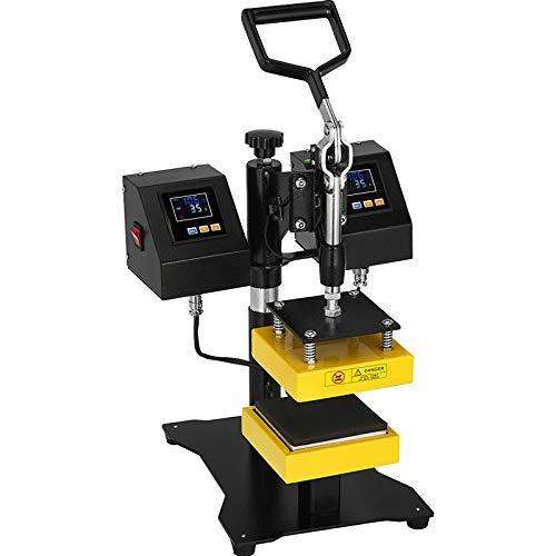 "VEVOR 5"" x 5"" Heat Press Machine Dual Heating Elements Swing-Arm High Pressure, Dual Heat Plates, Double Heat Platen Manual Presser Cranker"