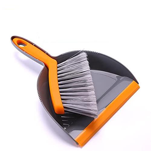 ZSDFW Mini recogedor y cepillo Set de herramientas de limpieza portátil, pequeño escoba y recogedor de recogedor para oficina, hogar, mesa, escritorio, cajón, teclado, limpieza del coche, gris naranja