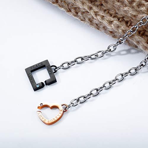 ZWH Versión Coreana Japonesa de la Carta de Moda Diamond Titanium Acero Pareja Pulsera Plateada Rosa Oro Amor Pulsera Pulsera Accesorios para Estudiantes (Color : Plated Rose Gold Women)