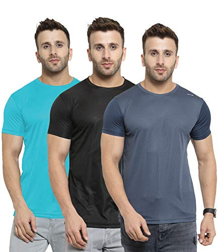 AWG ALL WEATHER GEAR Men's Polyester Round Neck T-Shirts - Pack of 3 (AWGDFT-BL-SBU-DGR-M, Multicoloured)