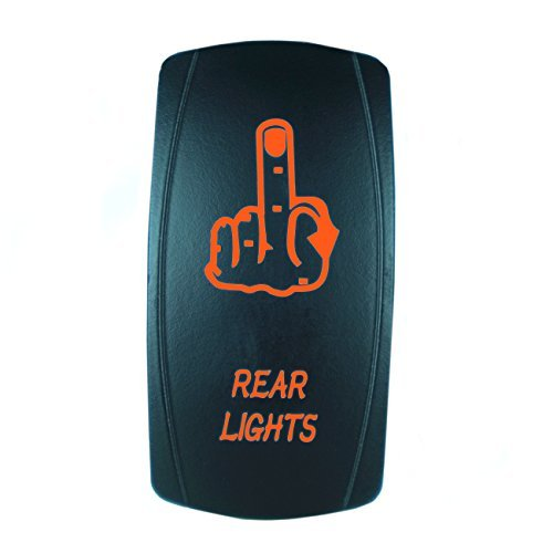 STVMotorsports Laser rétroéclairé Orange Rocker Switch Doigt Feux arrière 20A 12V on/Off LED