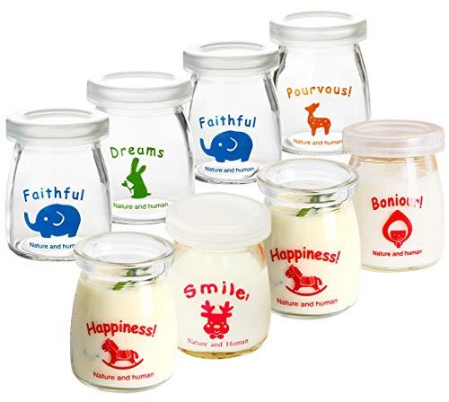 Ldawy Vasetti di bottiglie di vetro di latte di budino allo yogurt con coperchi di plastica - Design a motivo animale - Perfetto per Yogurt Maker
