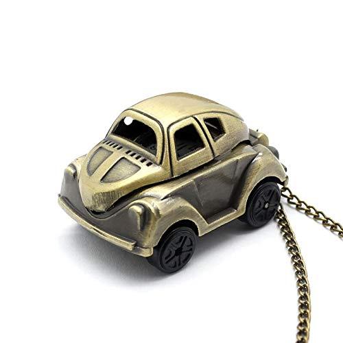 Bronce doble zona horaria rectángulo reloj de bolsillo movimiento de cuarzo coche camiseta bloqueo clave Cruz mujeres vestido collar regalos, Car,
