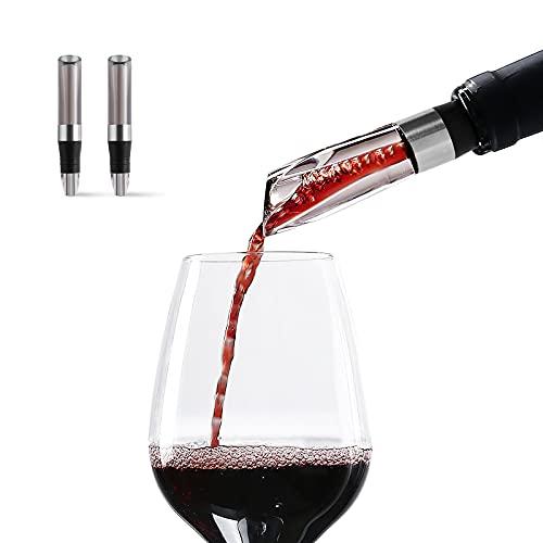 Wiwoney - Decantador-aireador de vino, paquete de 2, decantación rápida y pico de aireador (marrón)
