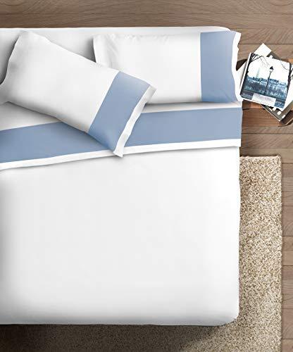 Ipersan Completo Matrimoniale con Bordo in Raso di Cotone, Organico, Azzurro Fondo Bianco
