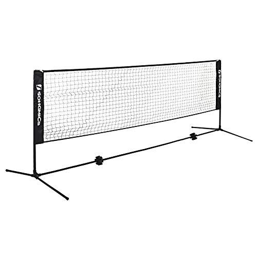 SONGMICS 5 Metri di Lunghezza Rete da Tennis Badminton Portabile Pieghevole Standard Internazionale per Singles SYQ500H