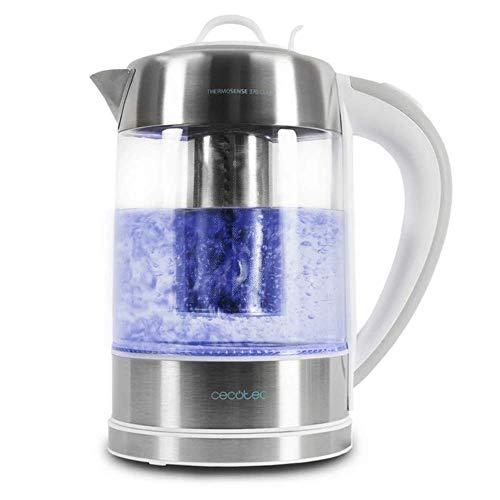 Cecotec Hervidor de Agua Eléctrico ThermoSense 370 Clear. 1,7 litros, Vidrio Borosilicato, Libre de BPA, Base 360º, Filtro Antical, Doble Sistema de Seguridad, 2200 W