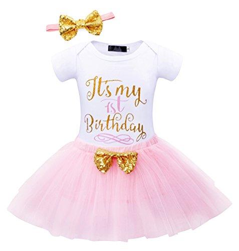 Jurebecia Bebé Niñas Es mi Primer/Segundo cumpleaños Trajes Conjuntos Princesa Vestido Tutu 3 Piezas Mameluco + Falda + Diadema