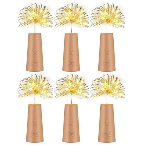 RG-FA 6 piezas botella de vino corcho luz cadena LED hadas alambre lámpara para fiesta decoración de boda - blanco cálido