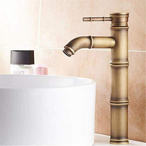 BH-JJSMGS,Cocina Cuarto de baño Grifo, Latón antiguo Cuarto de baño Acrecentamiento Sola manija Bambú Grifo Lavabo Lavabo Grifo Encimera Agujero único