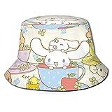 Hello Kitty Cinnamoroll Hombres Mujeres Sombrero de pescador Playa Plegable Daily Sun Hat Verano Viajes al aire libre Sombrilla Negro
