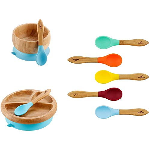 Rainbow Gift Set Blue - Baby Bowl Set + Baby Plate Set + Assorted Baby Spoons Set. Baby Shower, Baby Registry, Home Set & More. Baby Girl, Baby Boy, Unisex. BPA Free